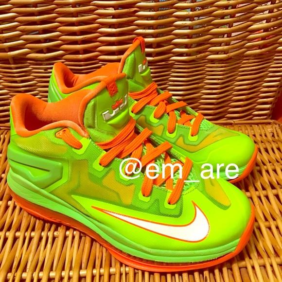 Nike Lebron 11 Low GS Electric Green Orange. M 5a692dcc61ca1086376f1329 0cbcf096b5